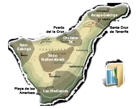 Karte der Wandergebiete auf Teneriffa
